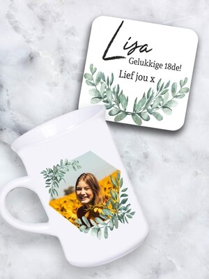 Personalised Eucalyptus Tea Mug & Coaster Set