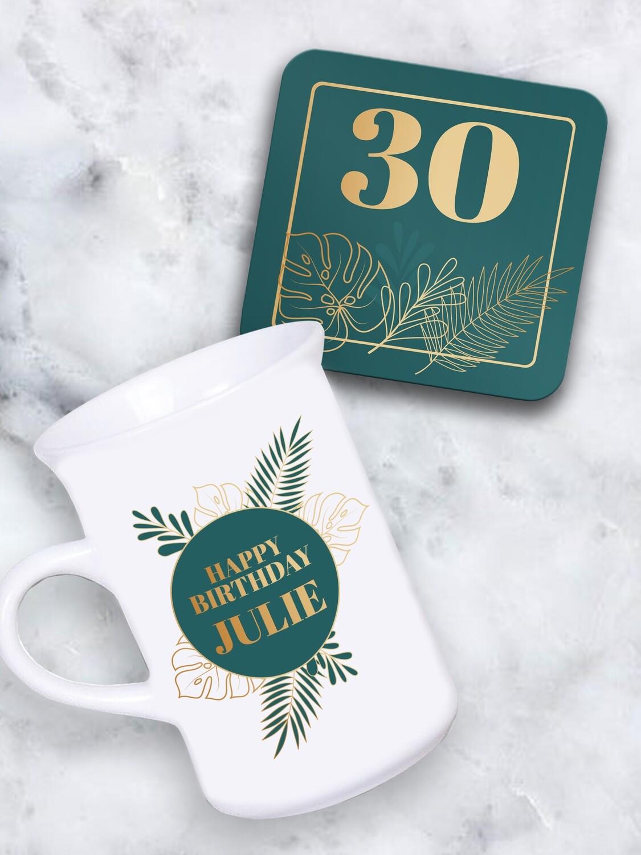 Personalised Tropical Tea Mug & Coaster Set
