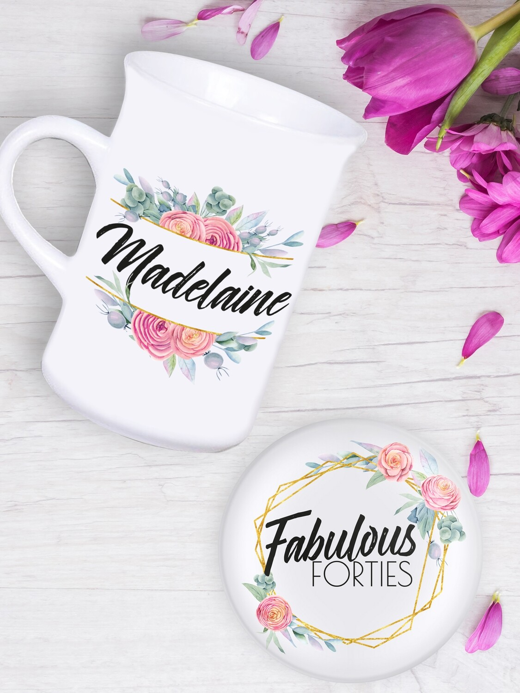 Personalised Floral Tea Mug & Coaster Set