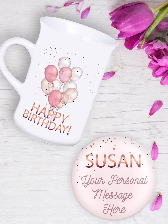 Personalised Balloons Tea Mug & Coaster Set