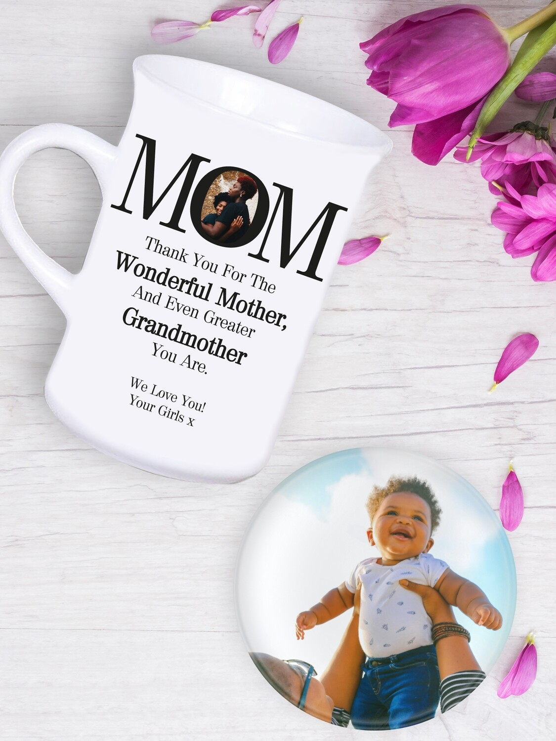 Personalised MOM Tea Mug & Coaster Set