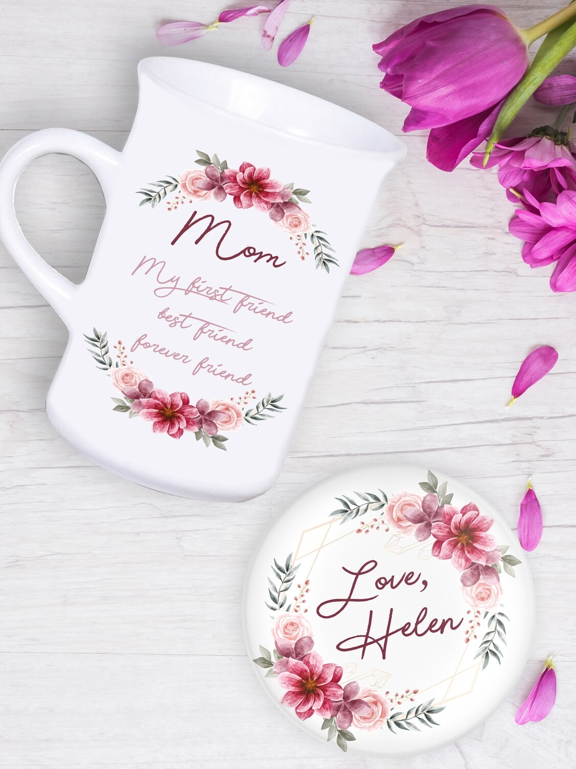 Personalised Wreath Tea Mug & Coaster Set
