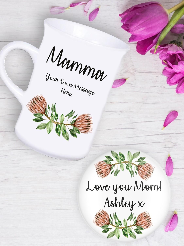 Personalised Protea Tea Mug & Coaster Set