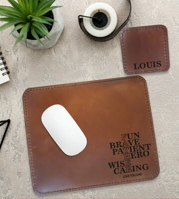 Personalised Father Genuine Leather Mouse Pad & Coaster Set