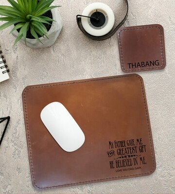 Personalised Believed Genuine Leather Mouse Pad & Coaster Set
