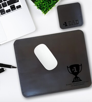 Personalised #1 Dad Genuine Leather Mouse Pad & Coaster Set