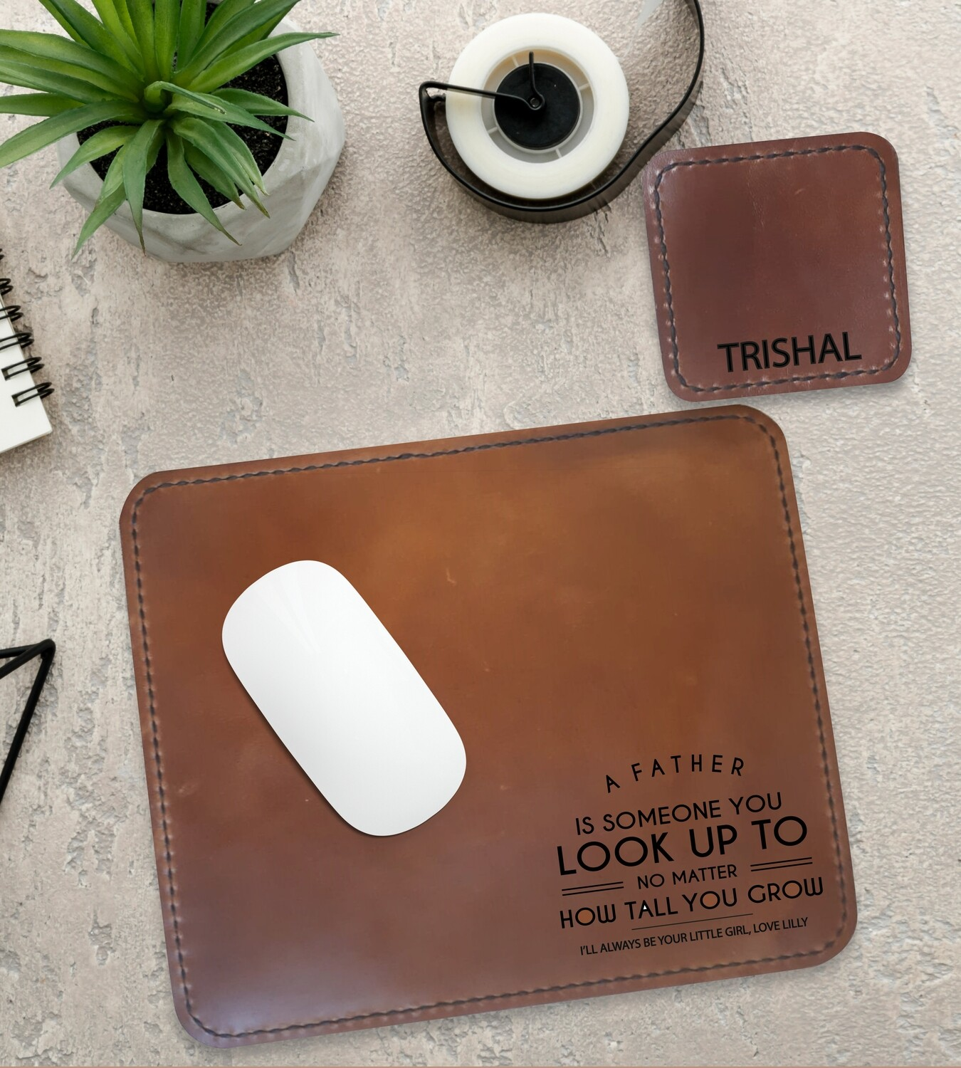 Personalised Look Up To Genuine Leather Mouse Pad & Coaster Set