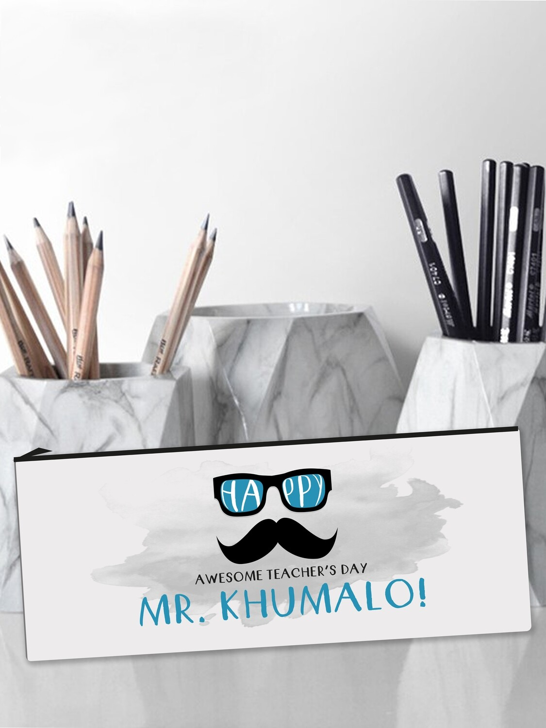 Personalised Hipster Teacher Pencil Case Large