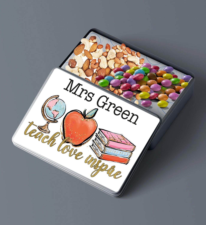 Personalised Teach Love Inspire Snack Pencilbox