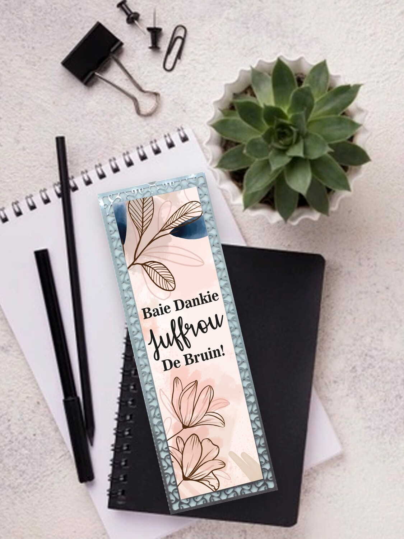 Personalised Teacher Floral Metal Bookmark