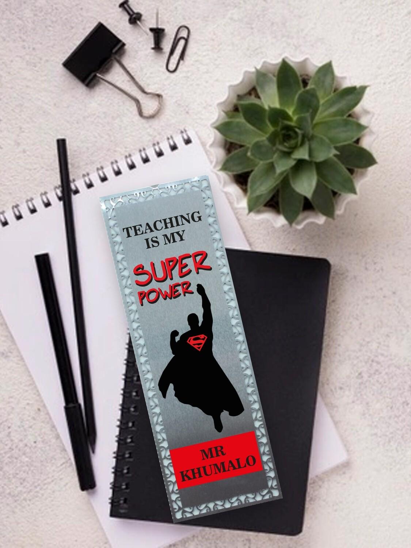 Personalised Super Teacher Metal Bookmark