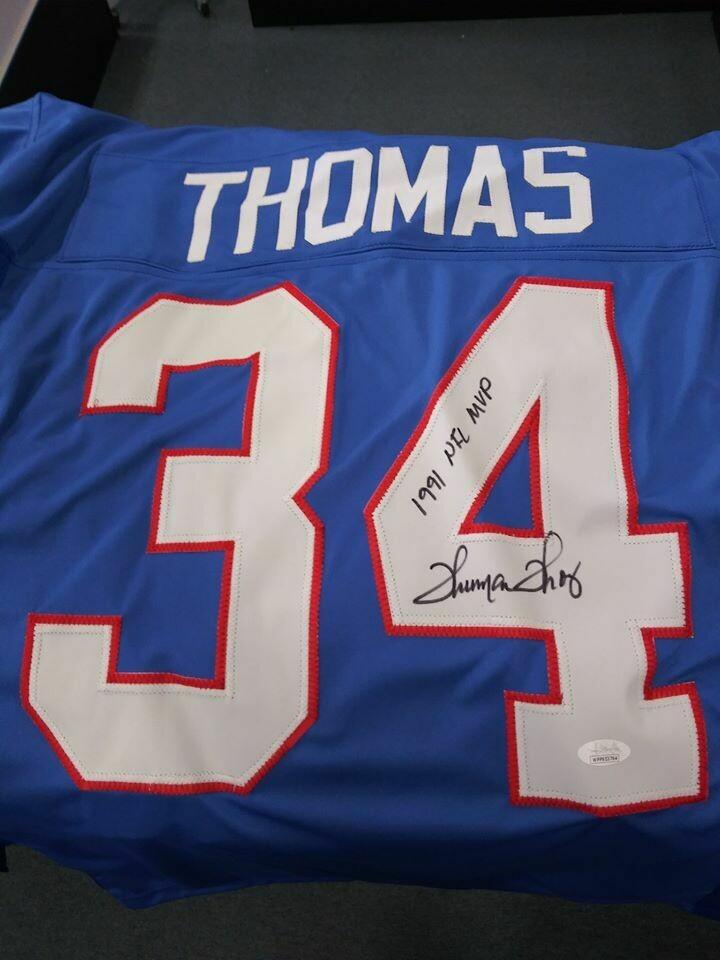 THURMAN THOMAS SIGNED BUFFALO BILLS CUSTOM JERSEY 1991 NFL MVP