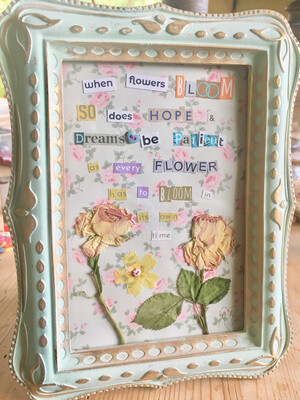 Hippy Happy Words of Inspiration & Love (Flower pressed frame)