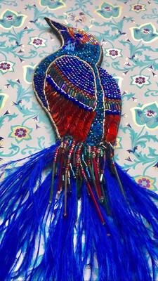 "Hippy Happy handmade sequin/beaded ""Bird of Paradise"" brooch"