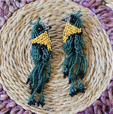 "Handmade ""Exotic Birds Of Paradise"" Earrings"