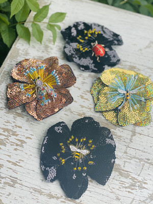 Handmade Large Sequin Flower Brooch With Insect Charm