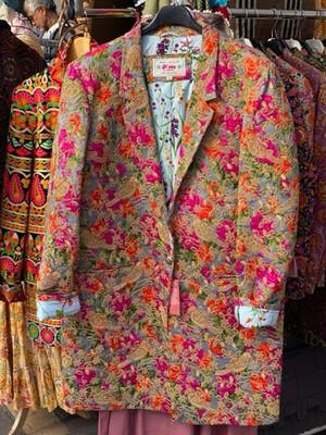 "Hippy Happy ""Bourgeoisie Kitsch""  Embroidery Midi Silk Jacket"