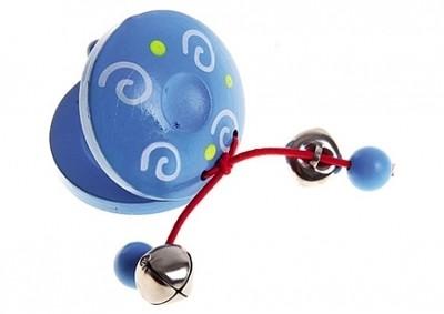 Дерев. игрушка Колотушка с бусинками голубая Рыжий кот ИД-1384