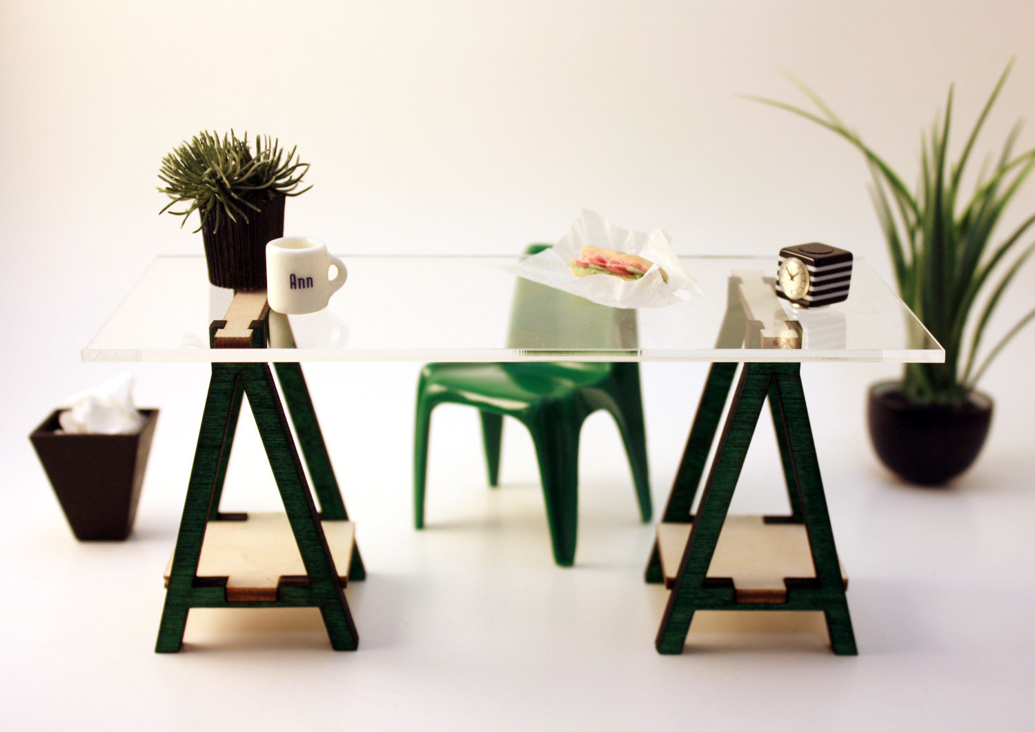 Buy 2 Get 1 Free SALE Miniature IKEA Inspired VIKA Desk Kit for 1:12 Scale Modern Dollhouse in Wood