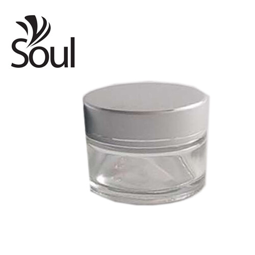 50g - Clear Glass Jar with Silver Glass Cap