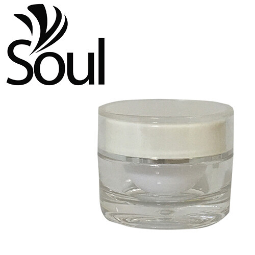 10g - Round Clear Arcylic Cream Jar White Cap