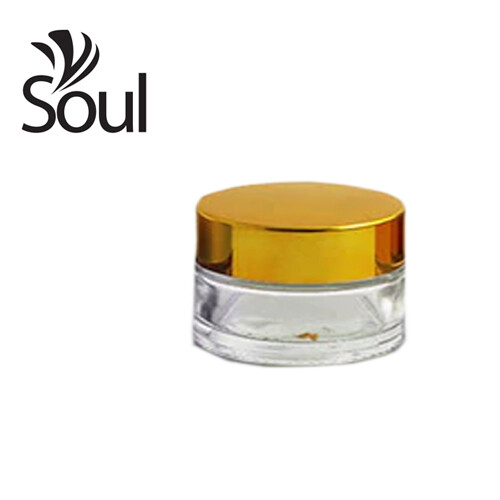 30g - Clear Glass Jar with Gold Glass Cap