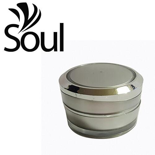 10g - Pyramid Round Arcylic Cream Jar Silver