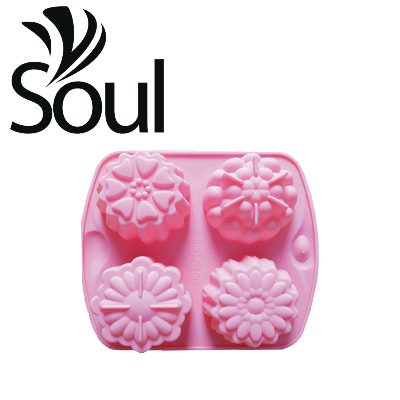 SM - 4x70g Soap Mould 4 type flower