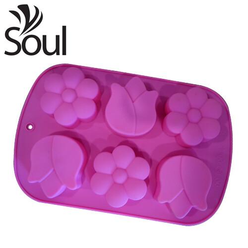 SM - 6x70G Soap Mould 2 Type Flower