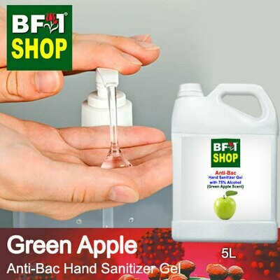 Anti-Bac Hand Sanitizer Gel with 75% Alcohol (ABHSG) - Apple - Green Apple - 5L