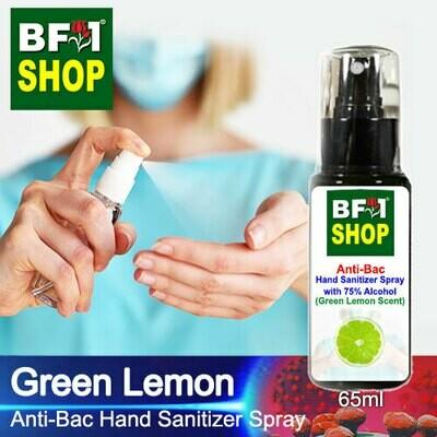 Anti-Bac Hand Sanitizer Spray with 75% Alcohol (ABHSS) - Lemon - Green Lemon - 65ml