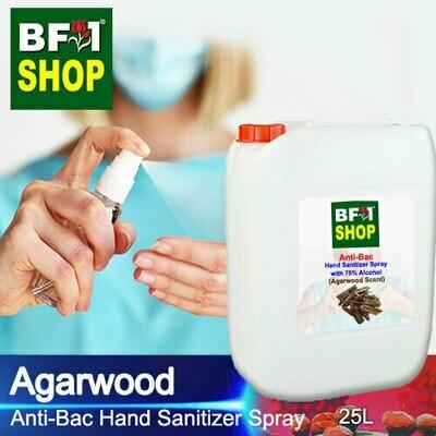 Anti-Bac Hand Sanitizer Spray with 75% Alcohol (ABHSS) - Agarwood - 25L