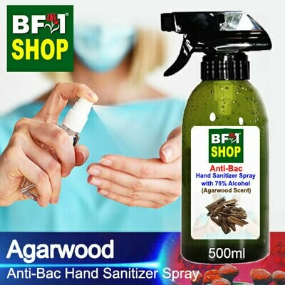 Anti-Bac Hand Sanitizer Spray with 75% Alcohol (ABHSS) - Agarwood - 500ml