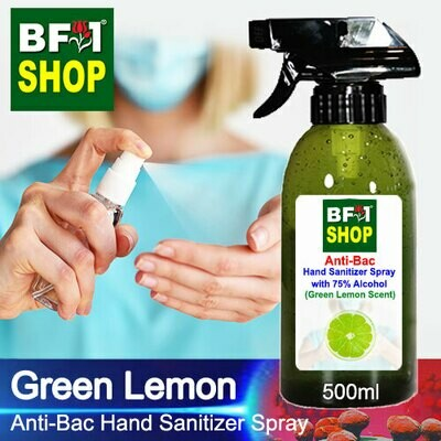 Anti-Bac Hand Sanitizer Spray with 75% Alcohol (ABHSS) - Lemon - Green Lemon - 500ml