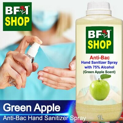 Anti-Bac Hand Sanitizer Spray with 75% Alcohol (ABHSS) - Apple - Green Apple - 1L