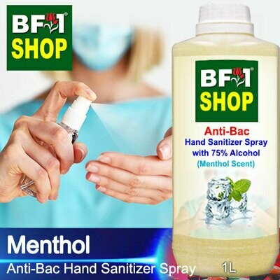 Anti-Bac Hand Sanitizer Spray with 75% Alcohol (ABHSS) - Menthol - 1L