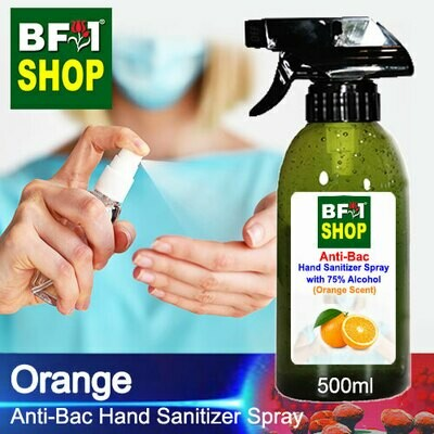 Anti-Bac Hand Sanitizer Spray with 75% Alcohol (ABHSS) - Orange - 500ml