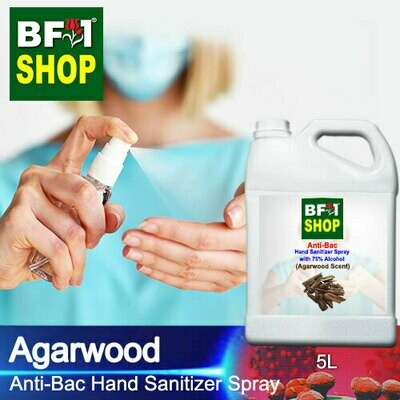 Anti-Bac Hand Sanitizer Spray with 75% Alcohol (ABHSS) - Agarwood - 5L
