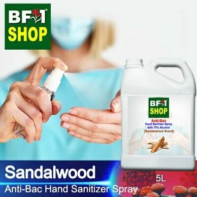 Anti-Bac Hand Sanitizer Spray with 75% Alcohol (ABHSS) - Sandalwood - 5L