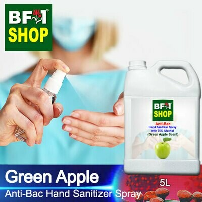 Anti-Bac Hand Sanitizer Spray with 75% Alcohol (ABHSS) - Apple - Green Apple - 5L