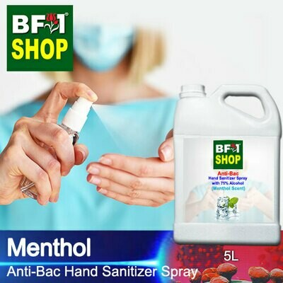 Anti-Bac Hand Sanitizer Spray with 75% Alcohol (ABHSS) - Menthol - 5L