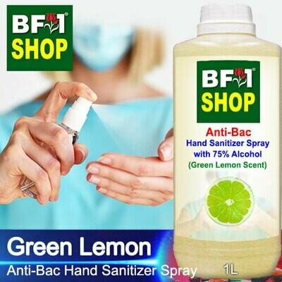 Anti-Bac Hand Sanitizer Spray with 75% Alcohol (ABHSS) - Lemon - Green Lemon - 1L