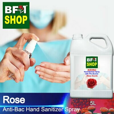 Anti-Bac Hand Sanitizer Spray with 75% Alcohol (ABHSS) - Rose - 5L