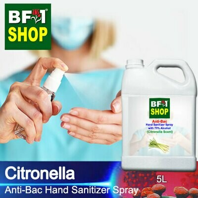 Anti-Bac Hand Sanitizer Spray with 75% Alcohol (ABHSS) - Citronella - 5L