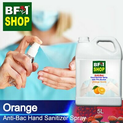 Anti-Bac Hand Sanitizer Spray with 75% Alcohol (ABHSS) - Orange - 5L