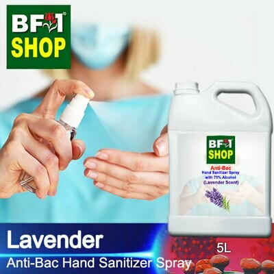 Anti-Bac Hand Sanitizer Spray with 75% Alcohol (ABHSS) - Lavender - 5L