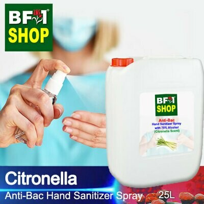 Anti-Bac Hand Sanitizer Spray with 75% Alcohol (ABHSS) - Citronella - 25L