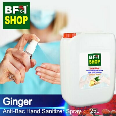 Anti-Bac Hand Sanitizer Spray with 75% Alcohol (ABHSS) - Ginger - 25L