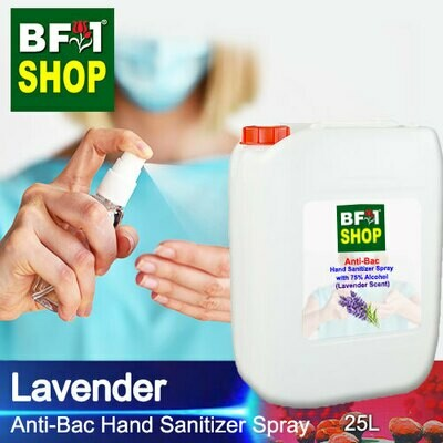 Anti-Bac Hand Sanitizer Spray with 75% Alcohol (ABHSS) - Lavender - 25L