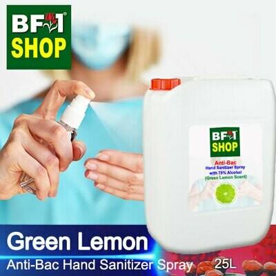 Anti-Bac Hand Sanitizer Spray with 75% Alcohol (ABHSS) - Lemon - Green Lemon - 25L